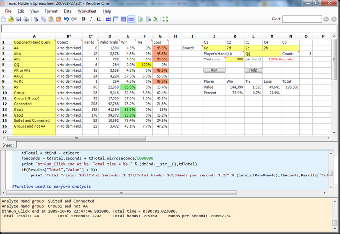 Theg2 Net Ironpython Texas Holdem Poker Spreadsheet And